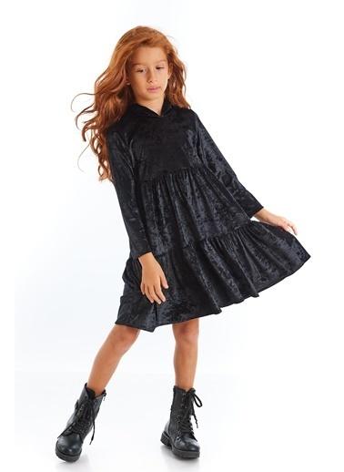 Colorinas Velvet Hoody Elbise Siyah Siyah